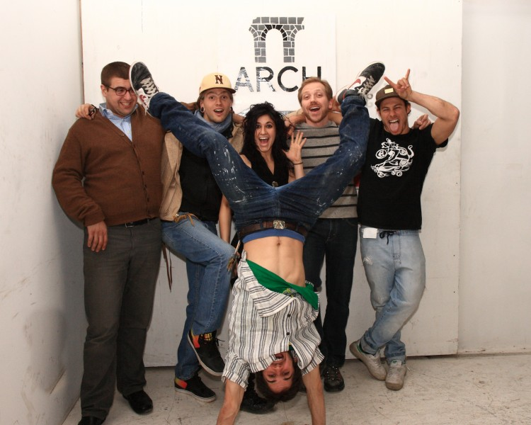Arch artists: Ian Horn, Evan Collier, Andriana Santiago, Tom Robinson, Zak Goodman, and (upside-down) Paulie Connor